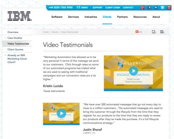 Video testimonials at Silverpop.com