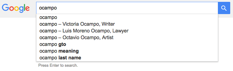 Disambiguation result for Ocampo