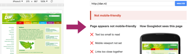 Test your mobile site: not mobile friendly example