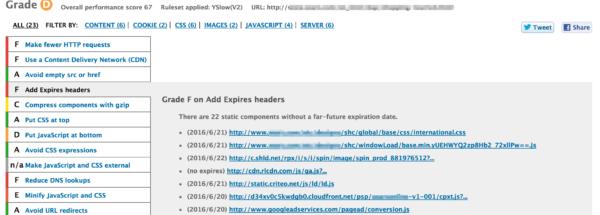 Browser cache: yslow screenshot