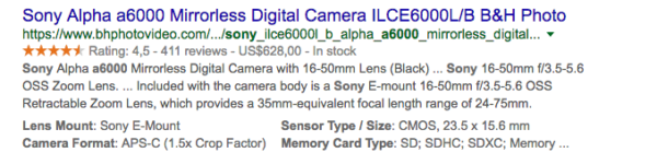 Rich snippets products