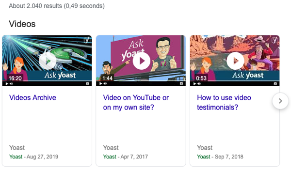 Google video carousel
