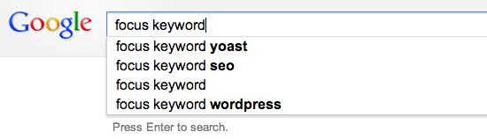 Hasil saran untuk kata kunci Fokus di Google Suggest