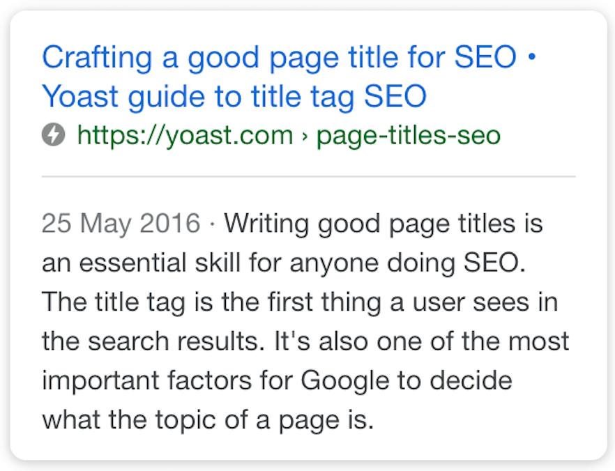 screenshot mobile result SEO title