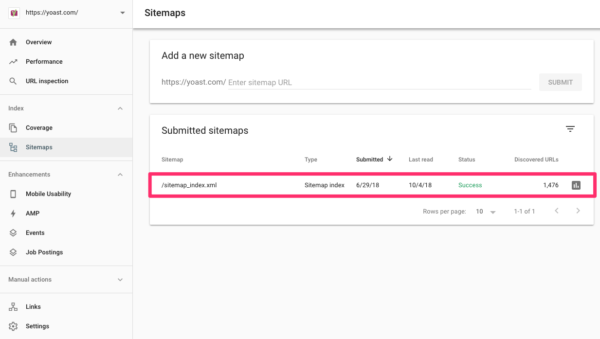 Add sitemap index to Search Console