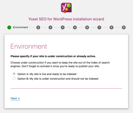 Yoast SEO configuration wizard step 1