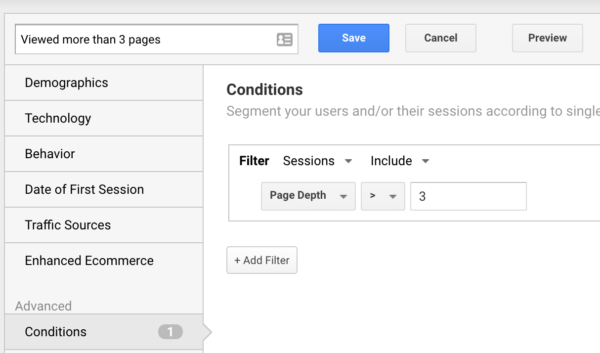 creating a page depth segment in Google Analytics