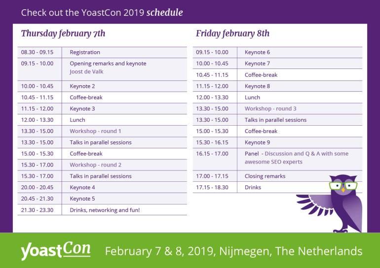 YoastCon2019 schedule