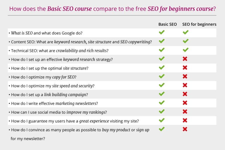 Differences Basic SEO course versus free SEO for beginners course