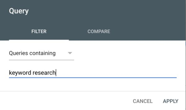 performance filter: keyword research queries