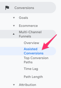 Assisted Conversions tab Google Analytics