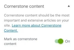 cornerstone content in the Yoast SEO sidebar