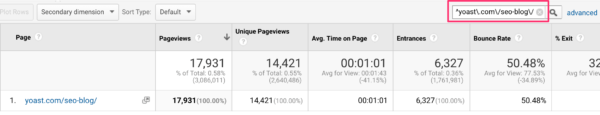 Use regex in the search bar in Google Analytics