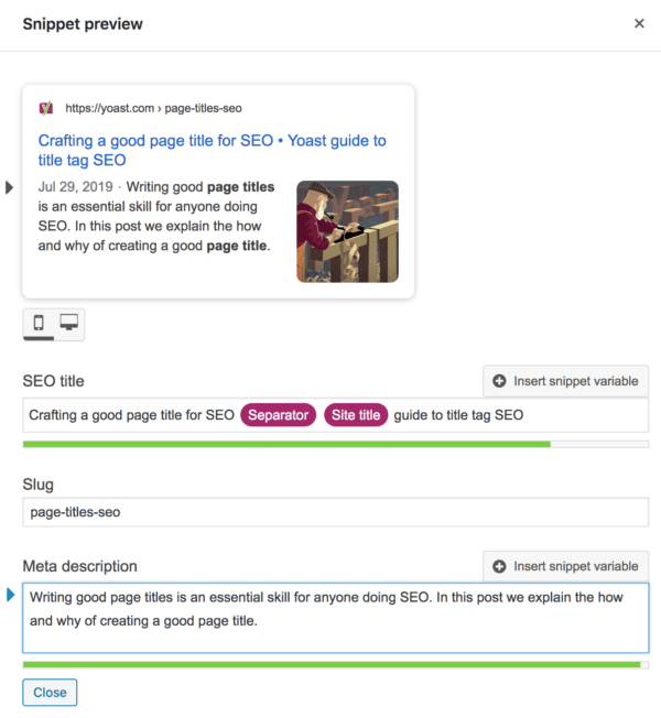 editing the meta description in the Yoast SEO snippet preview