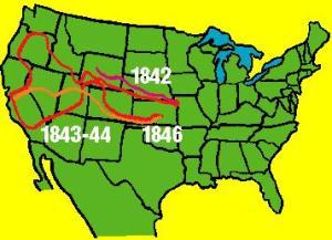 Mapa de las expediciones de Frémont.