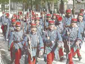 French troops marching