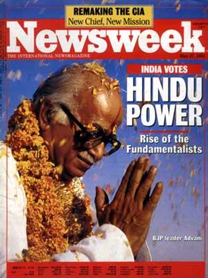"""""""הכוח ההינדואי״: עליית הפונדמנטליסטים"""" על שער השבועון 'ניוזוויק', 1997. בצילום נראה האיש החזק של הלאומנות ההינדית, לאל קרישנה אדוואני"""