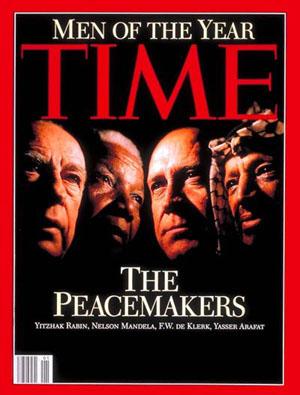 ערפאת, דה קלרק, מנדלה ורבין -- אנשי-השנה של המגזין 'טיים', ינואר 1994