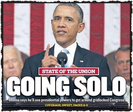 הנשיא ישיר לנו סולו. אובמה על עמוד השער של עתון הבית שלו, ׳שיקאגו סאן-טיימס׳, למחרת נאומו על מצב האומה. הוא בשום פנים לא כיכב על כל העמודים הראשונים של עתוני אמריקה. מזג האויר הארקטי ומותו של פיט סיגר התחרו בו. אבל כל אימת שהגיע לעמוד הראשון, הוא הכתיב את הקצב. (המקור: התצוגה המקוונת  של העמודים הראשונים בעתונים, במוזיאון Newsem, וושינגטון)