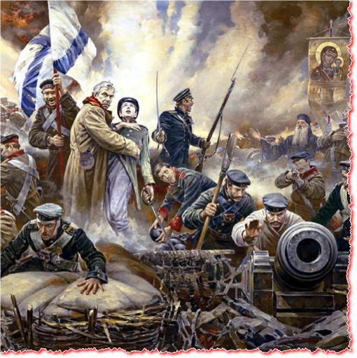 סבסטופול בשנית לא תיפול, או בעצם בשלישית. הציור הזה מוסיף נופך רומנטי ודתי להגנת סבסטופול במלחמת קרים, 1854. אז, הקואליציה האנגלו-צרפתית-אוסטרית-טורקית (ועוד) כבשה את העיר, שלא על מנת להישאר, אלא כדי לכפות התקפלות אסטרטגית על הצאר. סבסופול חזרה ונפלה ב-1942, בידי הגרמנים, מקץ התנגדות הירואית, ושוחררה ב-1944