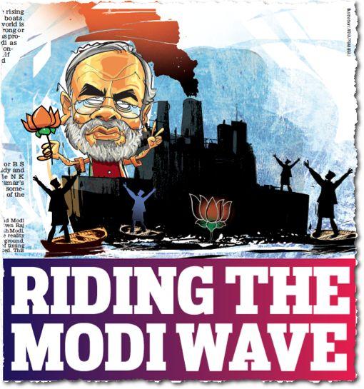 אליבא דכל הסקרים, דכל העתונים,  דכל הפרשנים, הפור בהודו כבר נפל. ההצבעה ב״בחירות הגדולות ביותר״ בדברי ימי האדם אמנם תסתיים רק ב-12 במאי, אבל המנצח יהיה נרנדרה מודי, מנהיג הימין הלאומני-דתי. ״הגל של מודי״ הוא עכשיו מליצה שחוקה בהודו. מועמד הימין נראה באיור הזה, השאול מ׳מייל טודיי׳, עתון שהפך את עצמו לכרוז-תעמולה של מודי (עשרים-ושלושה במארס 2014)
