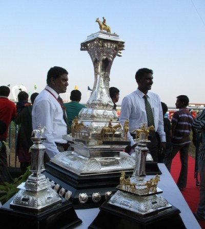 The trophies on display