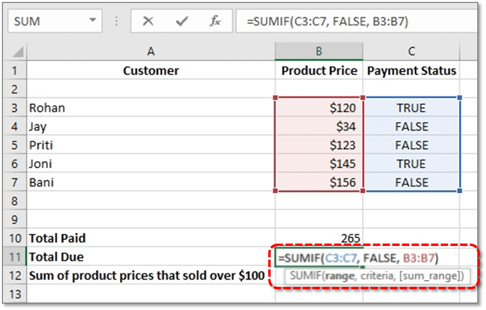 How To Use Sumif Function Excel
