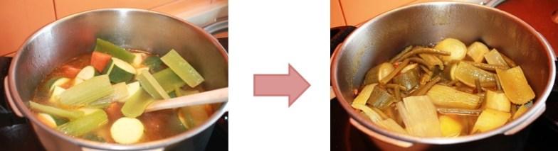 hervir pollo y verduras del cuscús