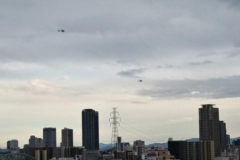 北大阪地震の日の淀川上空