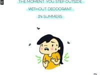 Summer, girl, comic, woman, sweat, deodorant, perfume