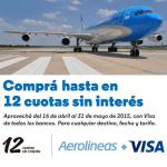 Aerolíneas Argentinas y Visa 12 cuotas sin interés