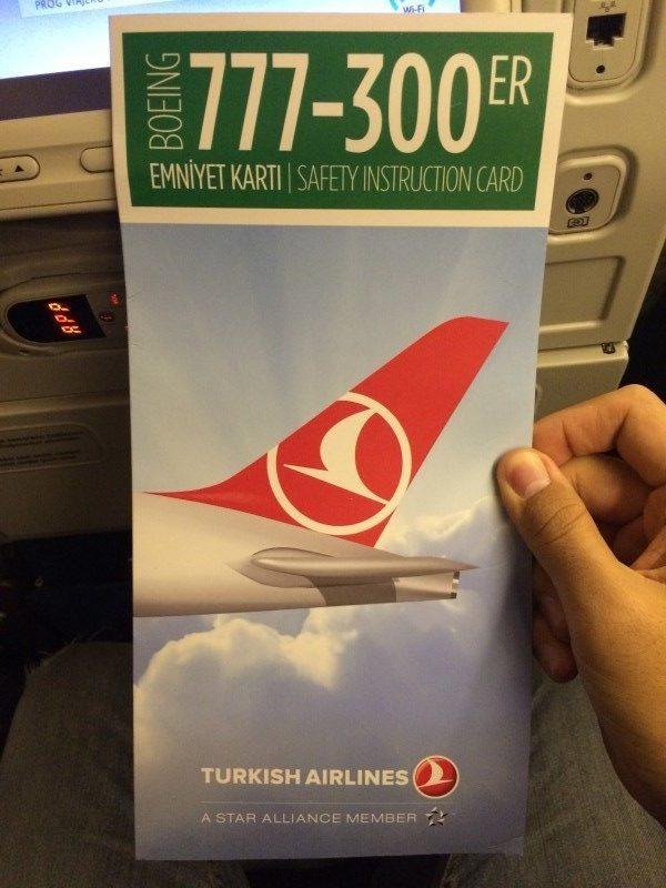 Folleto de seguridad de Turkish Airlines
