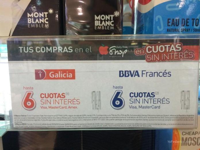 6 cuotas sin interes con Banco Galicia y Banco Francés en el Duty Free Shop Argentina