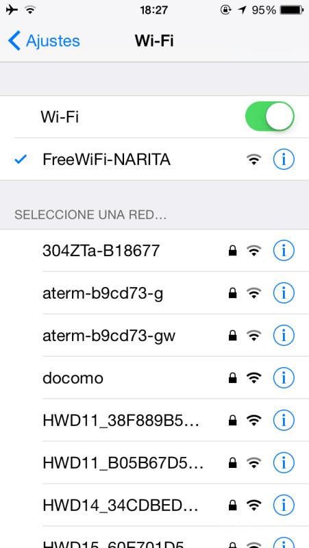 Free WiFi en el Aeropuerto de Narita, Tokyo, Japón