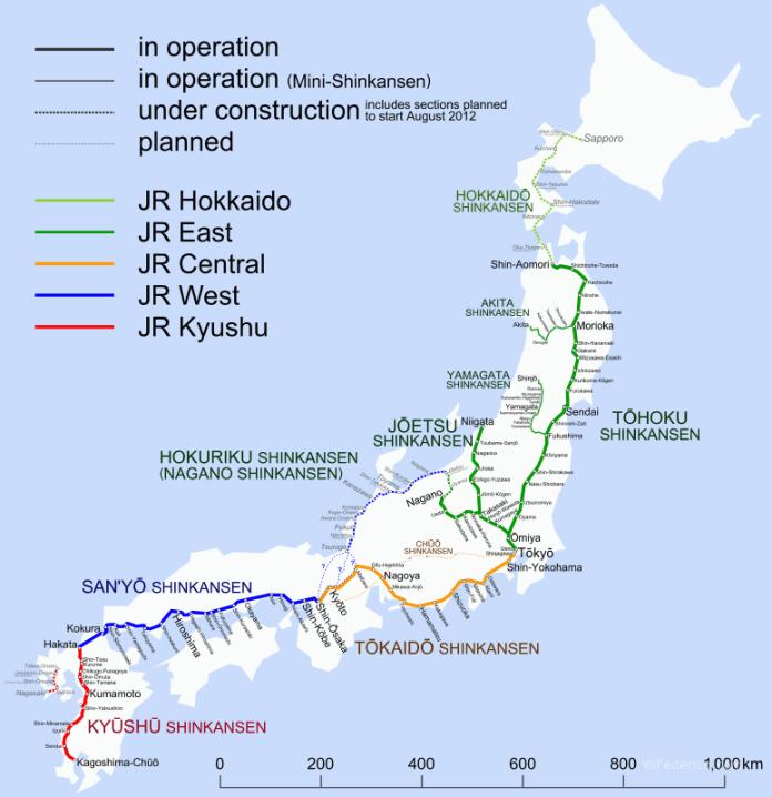 Mapas de trenes Shinkansen de alta velocidad japoneses