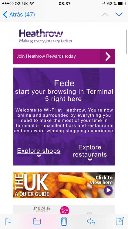 WiFi gratis Aeropuerto Heathrow, Londres