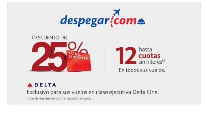 25 OFF en clase ejecutiva de Delta con Santander Rio