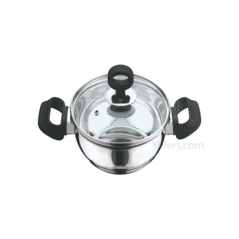 Vinod Deluxe Stainless Steel Kadai With Glass Lid 2.4 Ltr(22 Cm)