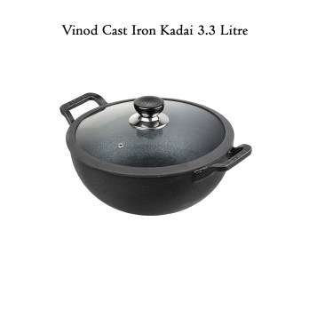 Vinod Legacy Cast Iron Kadai With Glass Lid 3.3 Litre