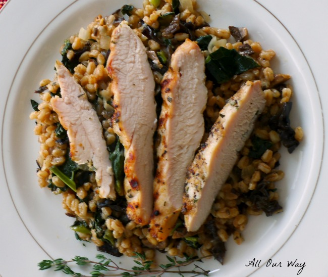 Grilled Rosemary Chicken Farro Risotto
