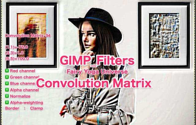 💖GIMP for Mac💘GIMP_フィルター効果(Filters)💚汎用(Generic)_コンボリューション行列【Convolution Matrix】続**27篇Matrix左上がり💙