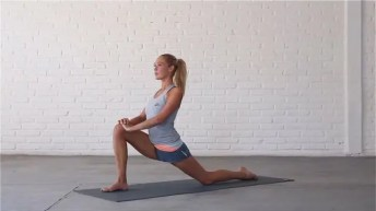 Low Lunge stretches the hip flexors.