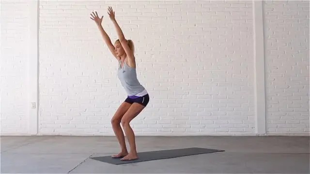 Chair pose strengthens the thighs and glutes.