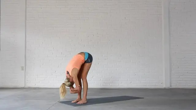 Ragdoll stretches the calves and hamstrings and releases the lower back.