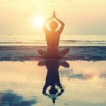 Meditation, yoga and fitness, a healthy lifestyle. Silhouette of
