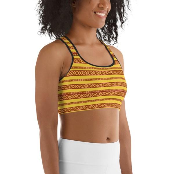 Red Yellow Tribal Yoga Bra