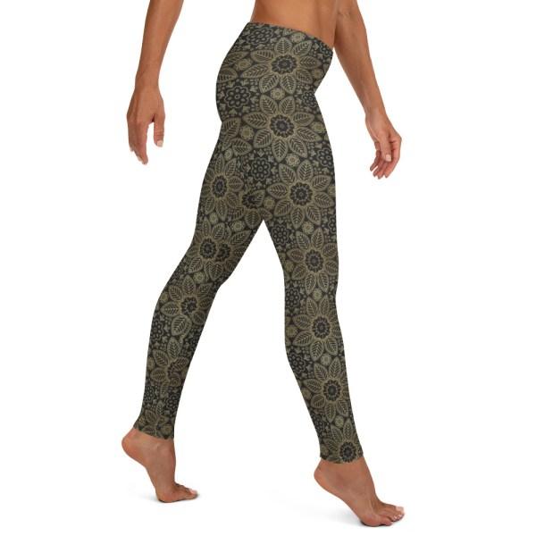 Black Floral Mandala Yoga Leggings