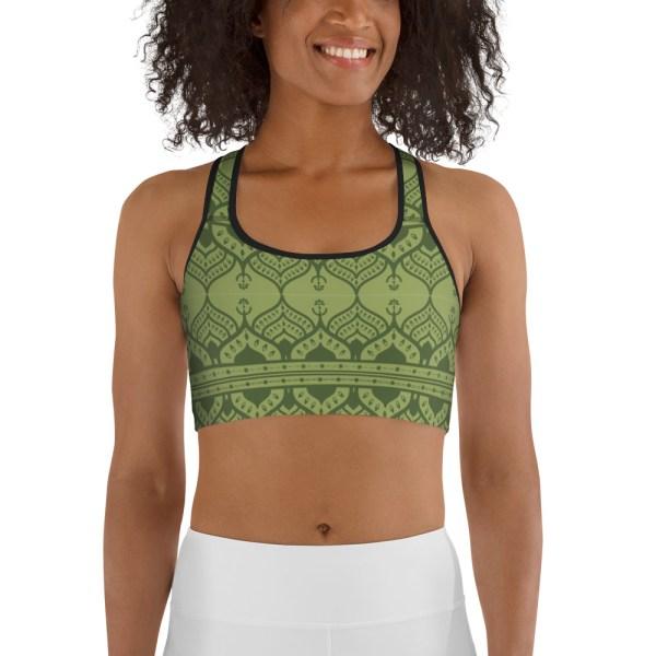 Chartreuse Green Mehndi Yoga Bra
