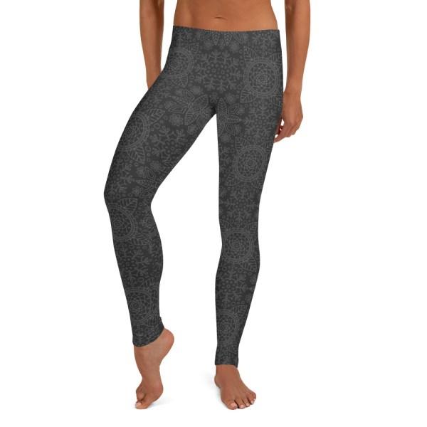 Grey Lotus Mandala Yoga Leggings