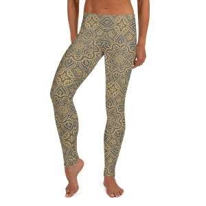 Emerald Gold Mandala Pattern Leggings